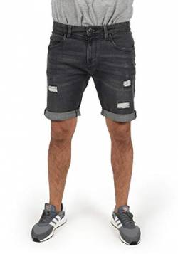 Indicode Hallow Herren Jeans Shorts Kurze Denim Hose Mit Destroyed-Optik Aus Stretch-Material Regular Fit, Größe:L, Farbe:Dark Grey (910) von Indicode