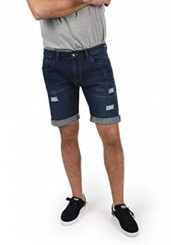 Indicode Hallow Herren Jeans Shorts Kurze Denim Hose Mit Destroyed-Optik Aus Stretch-Material Regular Fit, Größe:L, Farbe:Dark Blue (855) von Indicode