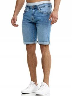 Indicode Herren Caden Jeans Shorts mit 5 Taschen aus 98% Baumwolle | Kurze Denim Stretch Hose Used Look Washed Destroyed Regular Fit Men Short Pants Freizeithose f. Männer Blue Wash L von Indicode