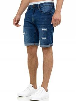 Indicode Herren Caden Jeans Shorts mit 5 Taschen aus 98% Baumwolle | Kurze Denim Stretch Hose Used Look Washed Destroyed Regular Fit Men Short Pants Freizeithose f. Männer Holes - Medium Indigo XXL von Indicode