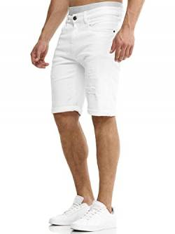 Indicode Herren Caden Jeans Shorts mit 5 Taschen aus 98% Baumwolle | Kurze Denim Stretch Hose Used Look Washed Destroyed Regular Fit Men Short Pants Freizeithose f. Männer Holes - Off White L von Indicode