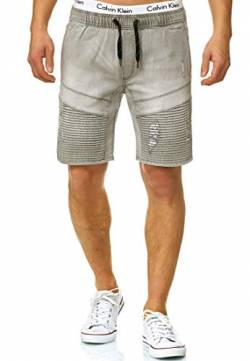 Indicode Herren Ernest Jeans Shorts mit 4 Taschen & elastischem Bund aus 98% Baumwolle | Kurze Denim Stretch Hose Used Look Washed Destroyed Regular Fit Freizeithose f. Männer Lt Grey L von Indicode