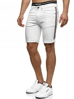 Indicode Herren Fife Jeans Shorts mit 5 Taschen aus 98% Baumwolle | Kurze Denim Stretch Sommer Hose Used Look Washed Destroyed Regular Fit Men Short Pants Freizeithose für Männer Offwhite XXL von Indicode