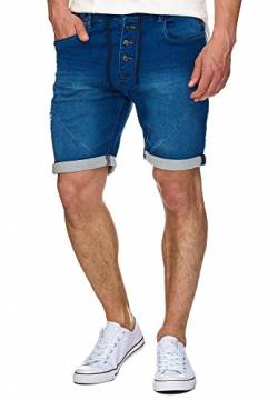 Indicode Herren Piano Sweatshorts mit 5 Taschen aus 82% Baumwolle | Kurze Hose Used-Look Shorts Denim-Optik Short Sweat Pants Washed Destroyed Jeans-Look Freizeithose für Männer Navy 3XL von Indicode