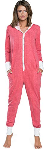 Italian Fashion IF Damen Jumpsuit Schlafanzug IFS18016 (Himbeere, S) von Italian Fashion IF
