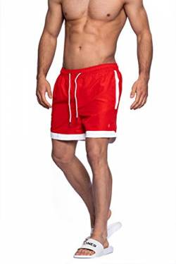 JACK & JONES Herren Badeshorts Swim Shorts Badehose (L, Fiery Red) von JACK & JONES