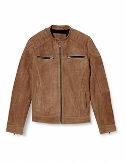 JACK & JONES Herren JJELIAM Leather Jacket NOOS Lederjacke, Lead Gray, XXL von JACK & JONES