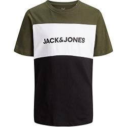 Jack & Jones Jungen JJELOGO Blocking Tee SS JR Shirt, Forest Night, 128 von JACK & JONES