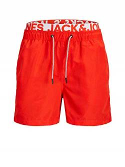 JACK & JONES Herren JJIARUBA JJSWIMSHORTS AKM DB WB SOLID Badehose, Fiery Red, S von JACK & JONES