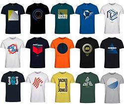 Jack and Jones Herren T-Shirt Slim Fit mit Aufdruck im 3er Oder 6er Mix Pack/Set mit Rundhals Marken Sale S M L XL XXL (3er Mix Pack, L) von JACK & JONES