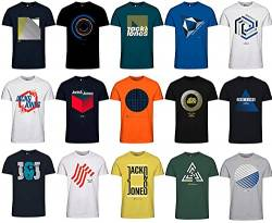 Jack and Jones Herren T-Shirt Slim Fit mit Aufdruck im 3er Oder 6er Mix Pack/Set mit Rundhals Marken Sale S M L XL XXL (9er Mix Pack, M) von JACK & JONES