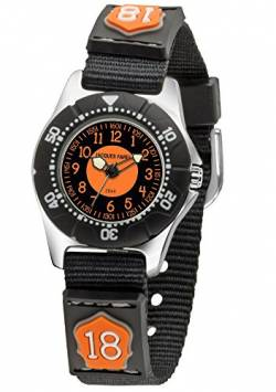 JACQUES FAREL Kinder-Armbanduhr Jungen Firefighter Analog Quarz Metall Drehring Stoffband KWD 4000 von JACQUES FAREL