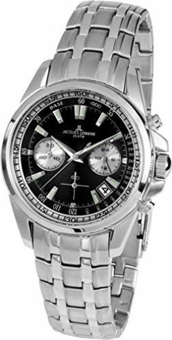 JACQUES LEMANS Herrenuhr Liverpool Metallband massiv Edelstahl Chronograph 1-1830D von JACQUES LEMANS