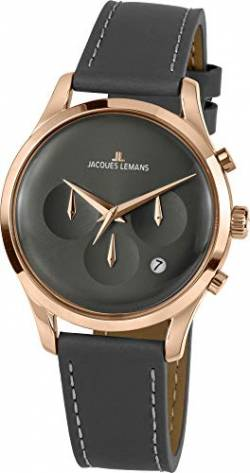 Jacques Lemans Unisex-Uhren Analog Quarz One Size Grau/Roségold 32016515 von JACQUES LEMANS
