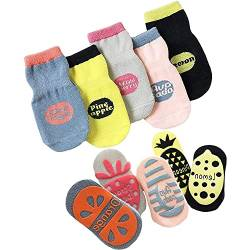 JFAN Baumwolle Baby Jungen Mädchen Socken 5 Paar Süß Kleinkind Mä dchen Socken mit Griffen Baby Antirutsch Socken Süß Lustiges Design Anti-Rutsch Socken Cartoon-Frucht von JFAN