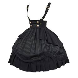 JIXUAN Frauen Strap Dress Steampunk Gothic Rock Halloween Cosplay Kostüme Diener Cosplay Rock Lolita Vintage Dress von JIXUAN
