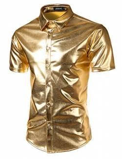 JOGAL Herren Metallic Glänzend Bronzing Nachtklub Party Hemd Medium Gold von JOGAL