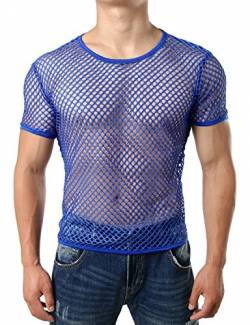 JOGAL Herren Muskel Transparent Kurzarm Shirts Netz Hemd Medium Blau von JOGAL
