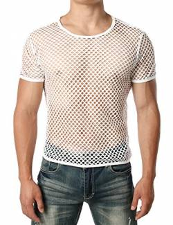 JOGAL Herren Muskel Transparent Kurzarm Shirts Netz Hemd Medium Weiß von JOGAL