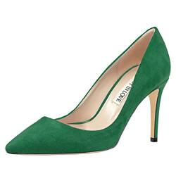 JOY IN LOVE Damen Pumps Schuhe Mittelabsatz Spitze Zehen Kleid Pumps Stilettos, Gr�n (Grünes Wildleder), 37.5 EU von JOY IN LOVE