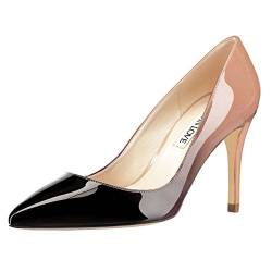 JOY IN LOVE Damen Pumps Schuhe Mittelabsatz Spitze Zehen Kleid Pumps Stilettos, (Nude-schwarz-patent), 40 EU von JOY IN LOVE