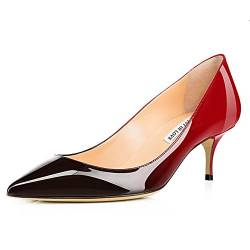 JOY IN LOVE Damen Schuhe Low Heels Spitze Zehen Kitten Heel Daily Pumps, Rot (Patent-rot-schwarz), 40 EU von JOY IN LOVE