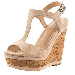 JOY IN LOVE Damen Wedges Sandalen High Platform Open Toe Knöchelriemchen Schuhe, Beige (natur), 39 EU von JOY IN LOVE