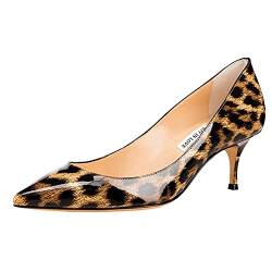 JOY IN LOVE Damen Schuhe Low Heels Spitze Zehen Kitten Heel Daily Pumps, (Patent-Leopard), 40 EU von JOY IN LOVE