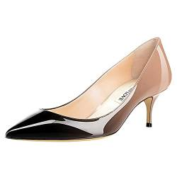 JOY IN LOVE Damen Schuhe Low Heels Spitze Zehen Kitten Heel Daily Pumps, Schwarz (Patent-nude-black), 42 EU von JOY IN LOVE