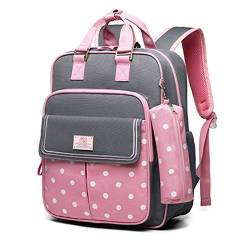 JUND Kinder Schulrucksack Ultraleicht Mädchen Rucksack Fashion Mit Dot Daypacks Classic Multifunktional Kinderrucksack (Pink) von JUND