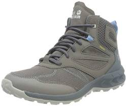 Jack Wolfskin Damen Woodland Texapore Walking-Schuh, Grey/Light Blue, 34.5 EU von Jack Wolfskin