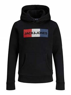 JACK & JONES Jungen Jjecorp Logo Noos Jr Hooded Sweatshirt, Black 5, 128 EU von Jack & Jones Junior