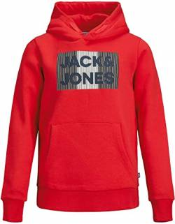 Jack & Jones Junior Boys JJECORP Logo Sweat Hood NOOS JR Hooded Sweatshirt, True Red/Detail:Play, 140/ von Jack & Jones Junior