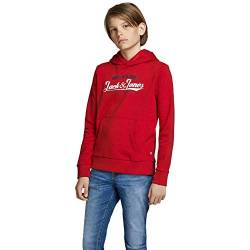 Jack & Jones Junior JJELOGO Sweat Hood 2 COL 20/21 NOOS JR Kapuzenpullover, Tango Red, 128 von Jack & Jones Junior
