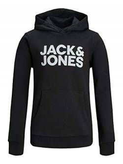 JACK & JONES Jungen Jjecorp Logo Sweat Hood Ss19 Noos Jr Kapuzenpullover, Black 4, 140 EU von JACK & JONES