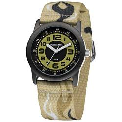 JACQUES FAREL STB4444 Uhr Junge Kinderuhr Stoffband Metall 50m Analog beige von JACQUES FAREL
