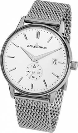 JACQUES LEMANS Damenuhr Heerrenuhr Retro Classic Metallband massiv Edelstahl Big Date N-215F von JACQUES LEMANS