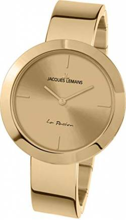 JACQUES LEMANS Damenuhr La Passion Metallband massiv Edelstahl ip-Gold 1-2031K von JACQUES LEMANS