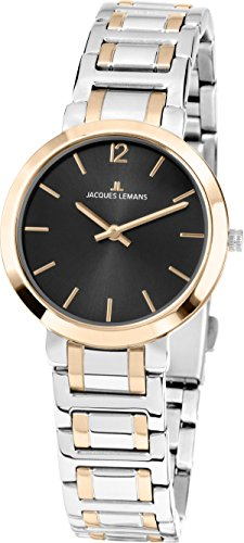 JACQUES LEMANS Damenuhr Milano Metallband massiv Edelstahl ip-Gold/Bicolor 1-1932E von JACQUES LEMANS