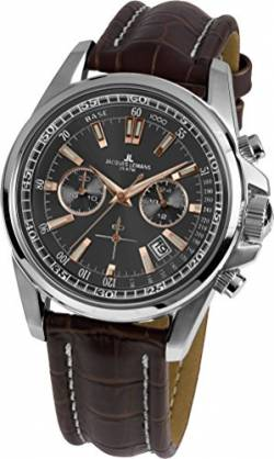 JACQUES LEMANS Herrenuhr Liverpool Lederarmband massiv Edelstahl Chronograph 1-1117.1WN von JACQUES LEMANS
