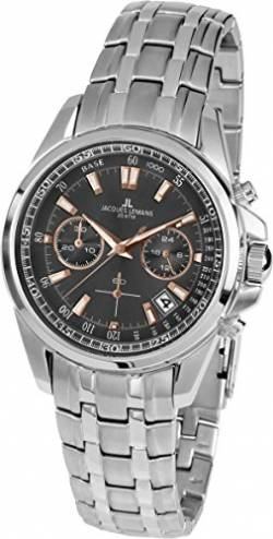 JACQUES LEMANS Herrenuhr Liverpool Metallband massiv Edelstahl Chronograph 1-1830F von JACQUES LEMANS