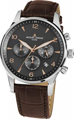 JACQUES LEMANS Herrenuhr London Lederarmband massiv Edelstahl Chronograph 1-1654ZK von JACQUES LEMANS