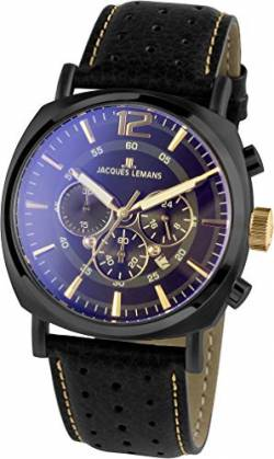 JACQUES LEMANS Herrenuhr Lugano Lederarmband massiv Edelstahl ip-Black Chronograph 1-1645.1O von JACQUES LEMANS