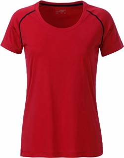James & Nicholson Damen Ladies' Sports T-Shirt, Rot (Red/Black), 40 (Herstellergröße: XL) von James & Nicholson
