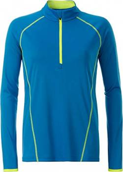 James & Nicholson Damen Ladies' Sportsshirt Longsleeve T-Shirt, Blau Blue/Bright-Yellow, Large von James & Nicholson