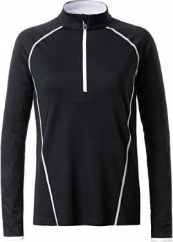 James & Nicholson Damen Ladies' Sportsshirt Longsleeve T-Shirt, Schwarz (Black/White), Small von James & Nicholson