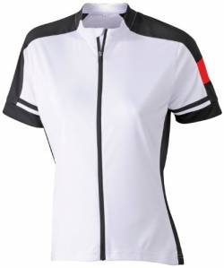 James & Nicholson Damen Sport T-Shirt Radtrikots Bike-T Full Zip weiß (white) Medium von James & Nicholson