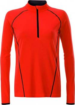 James & Nicholson Damen Ladies' Sportsshirt Longsleeve T-Shirt, (Bright-Orange/Black), XX-Large von James & Nicholson