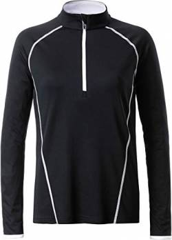 James & Nicholson Damen Ladies' Sportsshirt Longsleeve T-Shirt, Schwarz (Black/White), Large von James & Nicholson