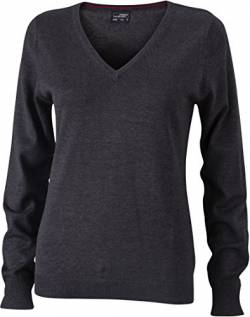 Ladies' V-Neck Pullover - taillierter Damen V-Neck Pullover L,anthracite melange von James & Nicholson